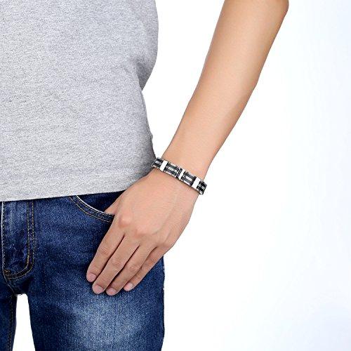 Ostan Bijoux Hommes Gothique 316L Acier Inoxydable Cuff Bracelet Bangle - Nouveaux Fashion Bijoux Hommes Bracelets, Argent et Noir