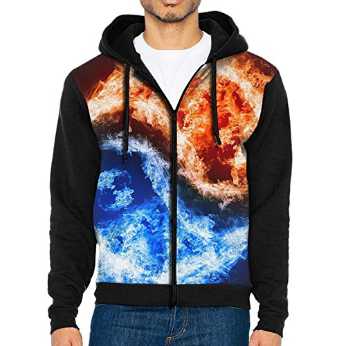 Decagon Print Jacket (3D Graphic Pullover Hoodies For Men Fire Ice Yin Yang Cool Zip Up Jacket)