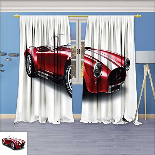 Nalahome Flower Design Foil Printed Grommet Thermal Insulated Window Panels Coupe Car Automobile with Smooth Bright Color Effects Red for Kidsroom, 108W x 96L (Panel Coupe Light)