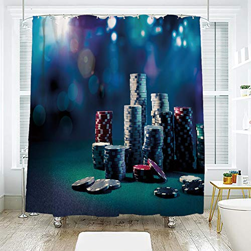 scocici Bath Curtain Suit Bathroom Waterproof Curtain Bath Curtain,Poker Tournament Decorations,Gaming Table with Poker Chips Dramatic Display Vegas Leisure Decorative,Multicolor,78.7
