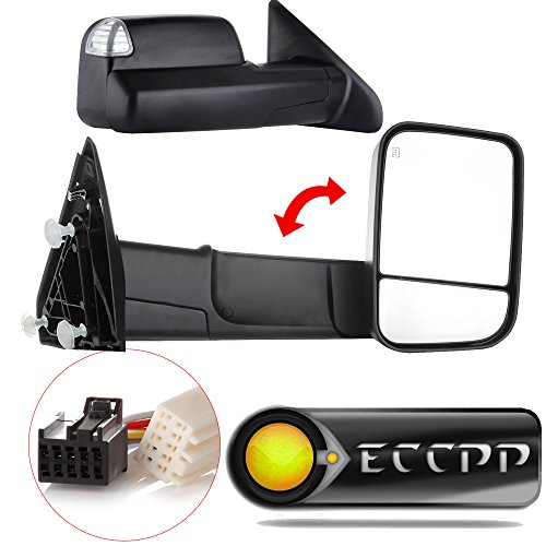 - ECCPP Towing Mirrors fit for 2009-16 Ram 1500 Pickup Signal Lights Pair Power Heated Passenger & Driver Side Side Mirrors