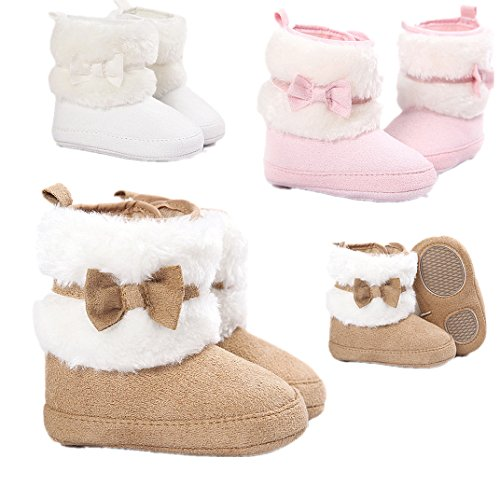 Ecosin(TM) Baby Bowknot Keep Warm Soft Sole Snow Boots Crib Prewalker Shoes Toddler