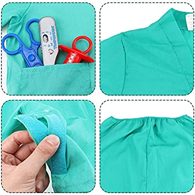 Kids Doctor Costumes,Child's Halloween Doctor Dress Up Surgeon Costume Set and Accessories for Boys and Girls: Clothing
