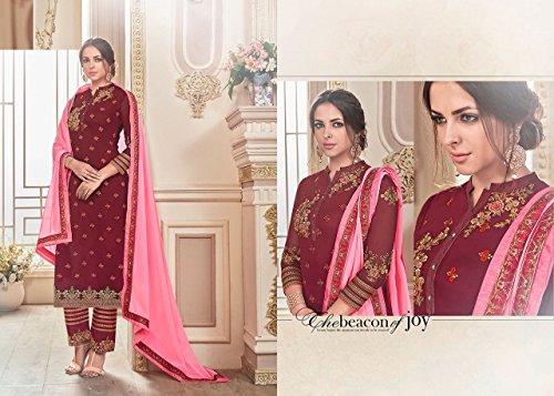 straight Maroon indiano casual designer salwar 2689 pakistano pant kameez suit ETHNIC designer EMPORIUM vestito abito donne B5wq0xnET