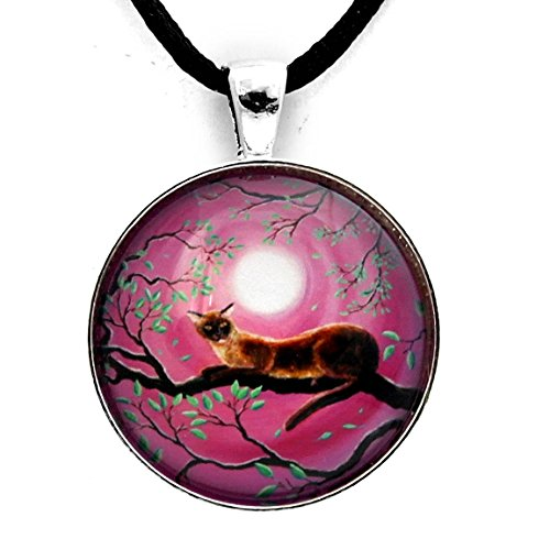 Burmese Cat Necklace Zen Tree Pendant Pink Moon Chocolate Sable Cat Moonlight Boho Handmade Jewelry (Burmese Glass)