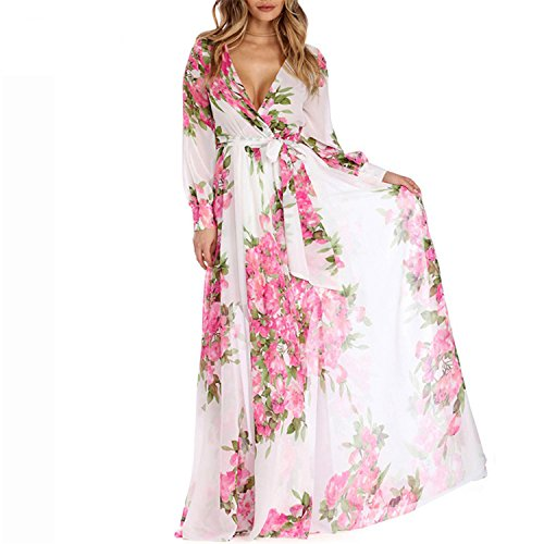 li dongc Summer Boho Maxi Dresses Plus Size Floral Print Chiffon Party