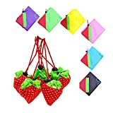 Cinhent Bag, 6PCS New Strawberry Fruit Foldable Convenient Shopping Bag, Supermarket Reusable Storage Bag, Casual Large Capacity Portable Handbag