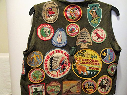 1960s Boy Scout Leather Vest w/ 35 Patches and 7 Medals and 1 Idaho Button and Pin w/ 1 and 2 yr bars