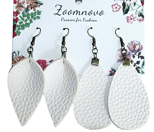White Faux Leather Teardrop Earrings 7 Colors Leather Leaf Leaves Earrings Large Earring for Women Girls 2 Pairs Cute Soft Lightweight Popular Fashion Jewelry Earing Joanna Gaines Petal Earring (Lightweight Ring White)