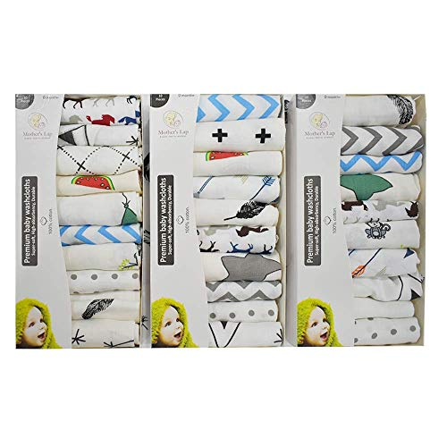 Linenaffairs Baby Washcloths | Baby Muslin Washcloth | Pack of 10 for Newborn | 12″ x 12″
