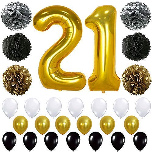 Gold 21st Birthday Decorations, Large, Pack of 29 | 21st Birthday Balloons | 21 Birthday Decorations | 21 Gold Balloons | 21st Birthday Gold | 21 Birthday Party Supplies Kit for 21 Year Old]()