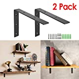 KINGSO 2 Pack - 8''L x 6''H Handcrafted Forged Black Iron Shelf Brackets, Industrial Decorative Wall Lip Brackets, Metal Floating Shelf, with Screw Accessories (L-shape(no lip))