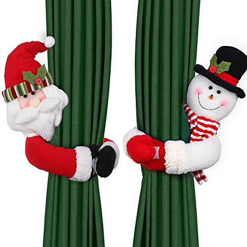 D-FantiX Christmas Curtain Buckle Tieback Set of 2, Santa Snowman Curtain Tiebacks Holdback Fastener Buckle Clamp Window Decorations Wine Bottle Topper Christmas Ornaments Home Holiday Décor