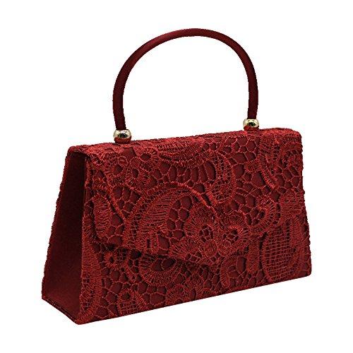 Handbag Bag Party Clutch Purse Women Handle Envelope Red Clutch Prom Top Bride Burgundy Cckuu TRw4qxCR