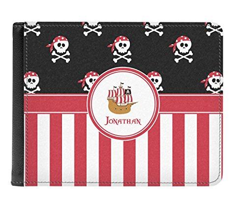Pliegue Los Doble Pirata Y Cuero De Verdadera Rayas Billetera personalizado De Hombres wfxFqUX
