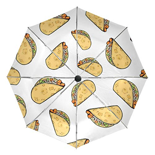 Sweet Potato Tacos Pattern Blog Lightweight Umbrella Windproof, Reinforced Canopy, Ergonomic Handle, Auto Open for Men Women (Patio Blog)