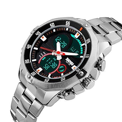 Mens Military Wrist Watch Analog Digital Watch Stainless Steel Waterproof LED Relojes De Hombre Skmei Watches Men (Digital Silver Wrist Watch)