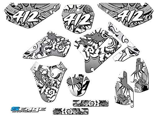 2005-2019 RM 85, Zany White Complete Custom Graphics Kit, Senge Graphics, Compatible with Suzuki. (Rm 85 Plastics)