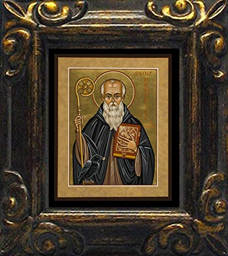 Trinity Stores Mini Magnet Framed Religious Art Print - Antique Black-3¾x4¼ - St. Benedict of Nursia by Joan -