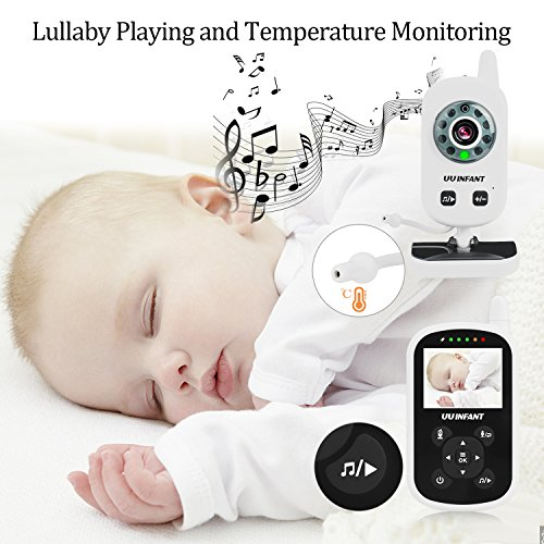Baby Monitor, Video Baby Monitor with Camera- Wireless Video Monitor for Baby Safety- with Infrared Night Vision/Two Way Talkback/Temperature Monitor/Lullaby-Play (White) by UU Infant (Image #6)
