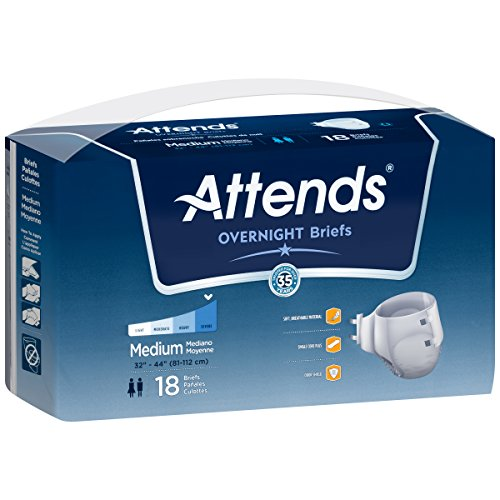 Attends Overnight Breathable Briefs size Medium, 18 Count (Pack of 2)