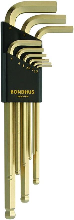 12138 10/pi/èces Bondhus Angle Jeu de cl/és 6/pans hlx10