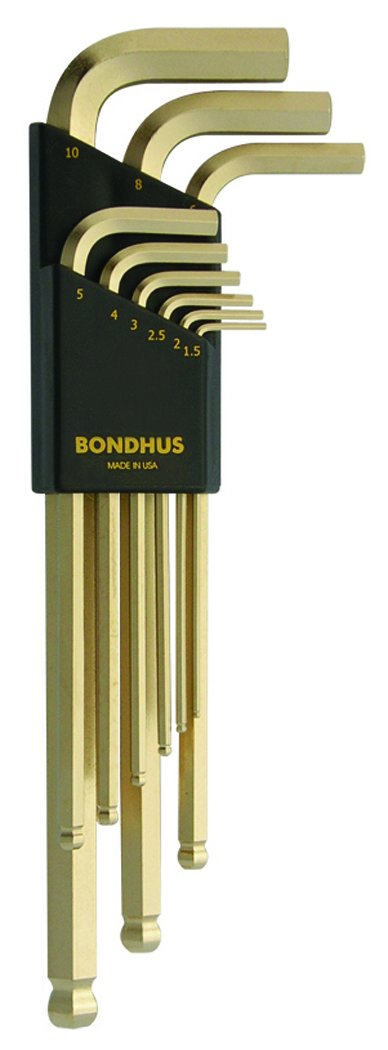 Bondhus 38099 GoldGuard Ballpoint L-Wrench Set - 9 Pc. Metric