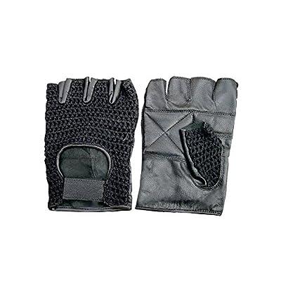 Leather & Mesh Fingerless Gloves, Padded Palms weightlifting Gloves, Work Gloves, Biking Gloves, Work Gloves, Biking Gloves (Black)