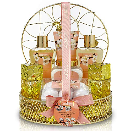 Bath and Body Gift Basket For Women and Men - 13 Piece Set of White Rose and Jasmine Scented Cosmetic and Home Spa Set with Bath Bombs, Body Mist, Perfume, Intricate Gold Perfume Holder and More ()