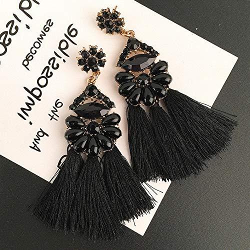 Rhame Fashion Women Statement Boho Gold Plated Geometric Big Dangle Drop Earring | Model ERRNGS - 20062 | Black-9.5cm