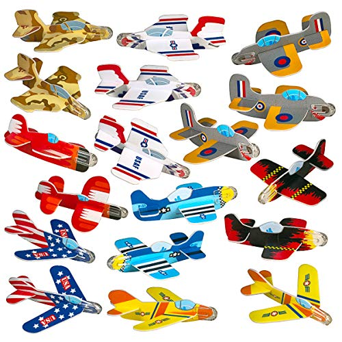 Neliblu Airplane Gliders for Kids Bulk Pack of 72 Individually Wrapped Flying Plane Toys - Lightweight Foam Air Planes W\ Various Designs; Fun Toys for Kids, Great Birthday Party Favor]()