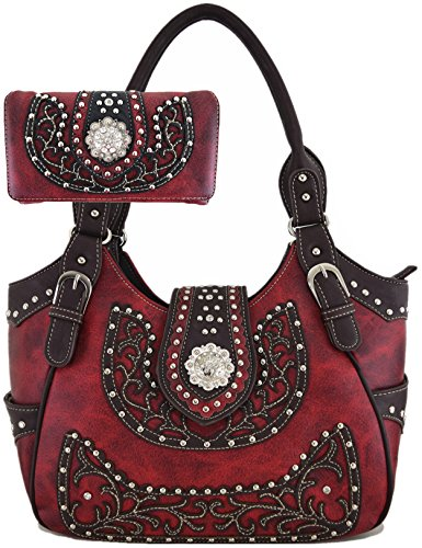 - Western Style Cowgirl Belts Buckle Country Purse Crossbody Handbag Women Hobo Shoulder Bag Wallet Set Red