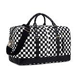 CAMTOP Weekend Travel Bag Women Mens Duffle Tote Bags PU Leather Trim Canvas Overnight Bag (Check Plaid-Black)