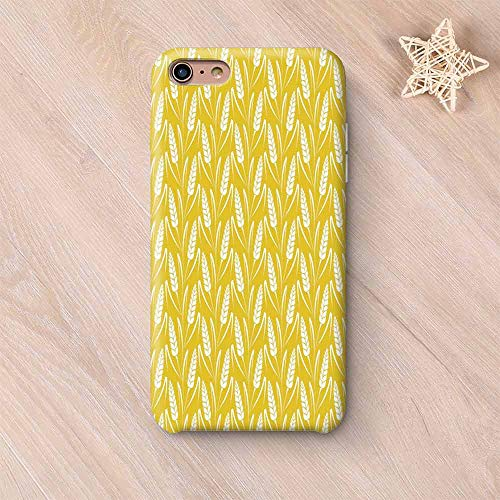 - Yellow and White Compatible with iPhone Case,Growing Rye Field Silhouettes of Wheat Ears Whole Grain Natural Decorative Compatible with iPhone X,iPhone 6 Plus / 6s Plus