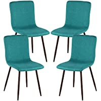 Poly and Bark Wadsworth Dining Chair with Walnut Legs in Green (Set of 4)