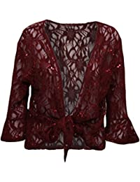 New Womens Plus Size Floral Lace Sequin ¾ Bell Sleeve Tie Up Shrug Cardigan (M-2X)