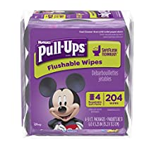 Pull Ups Flushable Moist Wipes Bundle 4-Pack of 51-Count, 204-Count