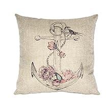 Coromose Home Car Bed Sofa Decorative Anchors Pillow Case Cushion Cover (Pink)