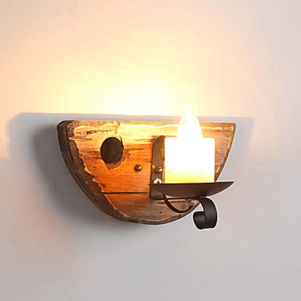 LJ Schwarze Schmiedeeiserne Kerzen-Metallwandleuchte Und Wandleuchte Wandleuchte Aus Holz Bambus 40W E12   E14