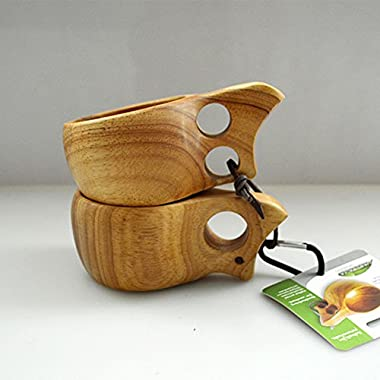 2 Pieces Handmade Wooden Portable Camping Cup/outdoor Mug/ Spoon (Each Wood Cup 200ml)