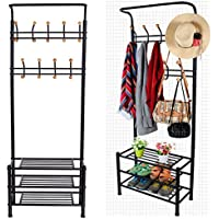 Leoneva Entryway Metal Multi-purpose Garment Rack Clothes Hat Coat Hanger with 18 Hooks and 3-Tier Storage Shoe Shelf Organizer(US STOCK)(Black)