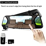 Dash Cam,7inch Touch Display Mirror Dash Cam,Dual Lens Front And Backup Recorder Camera, 150 Degree Wide Lens Car Camera With G-Sensor Loop Recording Parking Monitoring,16GB SD Card Included