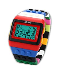 SHHORS Rainbow Building Blocks Digital LED Light Ladies Men's Waterproof Sport Watch LED087
