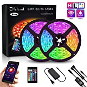 #LightningDeal LED Strip Lights, Elfeland WiFi 32.8FT 10M 300 LEDs SMD 5050 Color Changing Kit Work with Alexa Google Assistant Strip Lights Wireless Phone APP Controlled Rope Light Waterproof Flexible Tape Lights