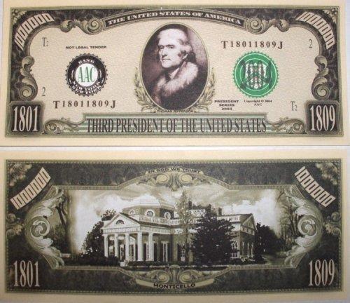 Set of 10 Bills-Thomas Bills-Thomas 10 Jefferson Million Dollar Bill by Novelties Wholesale 511ed4