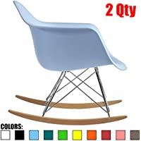 2xhome - Set of Two (2) Blue -Eames Style Molded Modern Plastic Armchair – Retro Rocker Chrome Steel Eiffel Base - Ash Wood Rockers - Rocking Mid Century Style Lounge Chair - Matte Finish