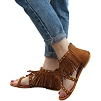 BSGSH Women Ladies Teens Fringe Bohemian Back Zip Rivet T-Strap Summer Flat Sandal