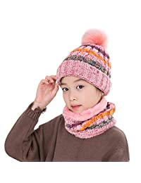 Vbiger Boys Girls Beanie Hat and Circle Scarf Childrens Cold Weather Sets (A-Pink)