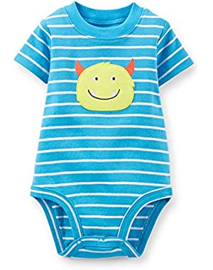 Carter 3 Month Monster Applique Bodysuit (Blue and White)