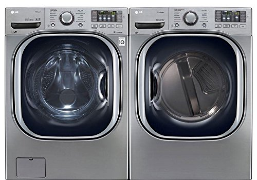 "LG Graphite Steel Front Load Laundry Pair with WM4270HVA 27"" Washer and DLEX4270V 27"" Electric Dryer in Graphite Steel"